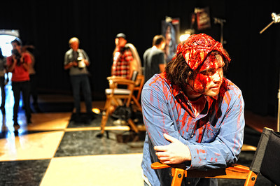 Justin Delk as Scalped Jerry from Rob ZombieÕs House of 1000 Corpsesduring a media preview for  Universal Studios' ÒHalloween Horror NightsÓ at  the Globe Theatre venue at Universal Studios Hollywood Wednesday, September 7, 2011. (Hans Gutknecht/Staff Photographer)
