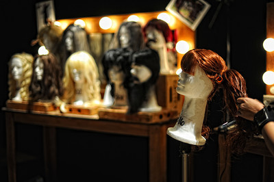 Wigs on display during a media preview for  Universal Studios' ÒHalloween Horror NightsÓ at  the Globe Theatre venue at Universal Studios Hollywood Wednesday, September 7, 2011. (Hans Gutknecht/Staff Photographer)