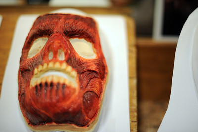 Masks on display during a media preview for  Universal Studios' ÒHalloween Horror NightsÓ at  the Globe Theatre venue at Universal Studios Hollywood Wednesday, September 7, 2011. (Hans Gutknecht/Staff Photographer)