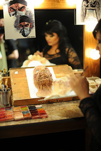 Veronica Rodarte works on a mask during a media preview for  Universal Studios' ÒHalloween Horror NightsÓ at  the Globe Theatre venue at Universal Studios Hollywood Wednesday, September 7, 2011. (Hans Gutknecht/Staff Photographer)