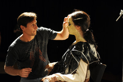 Makeup artist Chris Kobzina turns Minerva Mendez in to La Llorona Villa De Almas Pedidas (The Weeping Woman Village of the Lost Souls)during a media preview for  Universal Studios' ÒHalloween Horror NightsÓ at  the Globe Theatre venue at Universal Studios Hollywood Wednesday, September 7, 2011. (Hans Gutknecht/Staff Photographer)