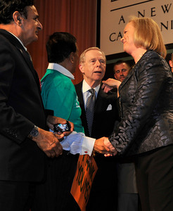 Former Governor Pete Wilson, and others, shake hands with Meg Whitman after she conceded her run for the office of Governor at approximatly 11:40 PM during a campaign party at the Universal Hilton hotel in Universal City, CA.11-2-2010. (John McCoy/staff photographer)