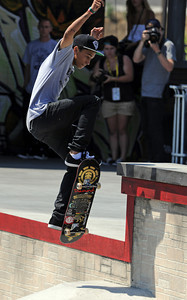 Nyjah Huston during the Men's Street Finals at the X Games 17 outside the Staples Center in Los Angeles, CA Saturday, July 30, 2011. (Hans Gutknecht/Staff Photographer)