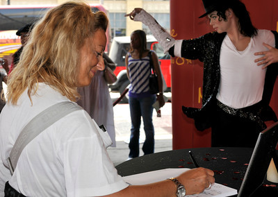 Michael JacksonÕs now famous, $300,000 wax likeness is being displayed in the lobby of Madame Tussauds on Hollywood Blvd. where fans can come by and take photographs. CA 06/22/2010 (John McCoy/Staff Photographer)