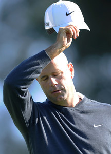 Stewart Cink struggled to make par on #1 and would end up three over for the day and +1 for the tournament during the third round of the Northern Trust Open. Pacific Palisades, CA 2/18/2012(John McCoy/Staff Photographer)