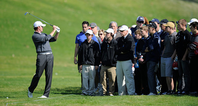 Jimmy Walker looks behind him to make sure his club wont hit the gallery when he played his second shot on the 3rd hole from the right rough during the third round of the Northern Trust Open. Pacific Palisades, CA 2/18/2012(John McCoy/Staff Photographer)