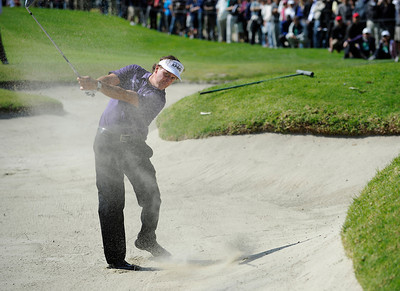 Phil Mickelson hits out of the fairway bunker on 7 during the third round of the Northern Trust Open. Pacific Palisades, CA 2/18/2012(John McCoy/Staff Photographer)