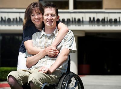 Mike DeYoung, a quadriplegic who was undergoing rehabilitation at Northridge Hospital, later married nurse Kristen Richardson. The couple now lives in Chatsworth. (Maya Sugarman/Staff Photographer)