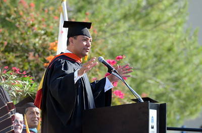 State Senator Alex Padilla addresses graduates during commencement ceremonies Tuesday, June 7, 2011at Mission College in Sylmar, Ca.  (Hans Gutknecht/Staff Photographer)