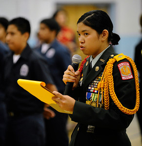 Monroe HS ROTC student Candice McCasland reads a poem as they honor the fallen heroes of 9/11. They were joined by classmates as poems written by students were read aloud. There was a moment of silence and a time of reflection as students commemorate the tragic events of 9/11. Sept 9,2011. North Hills CA. Photo by Gene Blevins/LA DailyNews