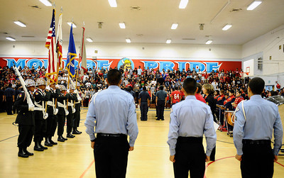 Monroe HS students JRTOC bring in the colors as they honor the fallen heroes of 9/11. They were joined by classmates as  poems written by students were read aloud. There was a moment of silence and a time of reflection as students commemorate the tragic events of 9/11. Sept 9,2011. North Hills CA. Photo by Gene Blevins/LA DailyNews