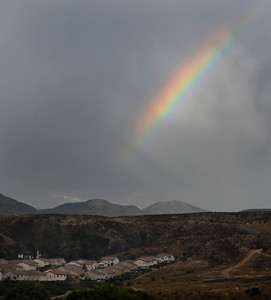 A rainbow appears as monsoon rain cells make their way over the south land areas in the late afternoon in Lake View Terrace. July 10,2010.  Photo by Gene Blevins/LA Daily News