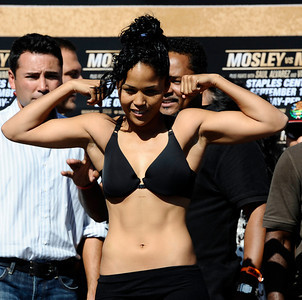 Female boxer Kaliesha West weighs in at  118 pounds as she will fight Angel Gladney who weighed in at 117 pounds, as they will fight for the vacant WBO bantaweight title this Saturday night at Staples Center in Los Angeles CA.  Sept 17,2010. Photo by Gene Blevins/LA Daily News