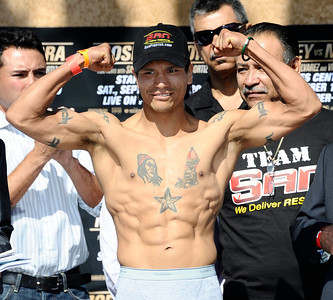 Daniel Ponce De Leon from Mexico weighs in at 125 pounds as he will fight Antonio Escalante from TX, the fight will be live on HBO-PPV Saturday night at Staples Center in Los Angeles CA.  Sept 17,2010. Photo by Gene Blevins/LA Daily News