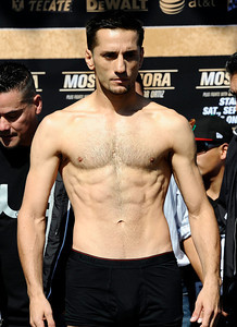 Sergio Mora weighs in at 157 pounds as he will fight Sugar Shane Mosley that will be live on HBO-PPV Saturday night at Staples Center in Los Angeles CA.  Sept 17,2010. Photo by Gene Blevins/LA Daily News