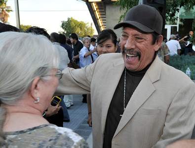 Actor Danny Trejo was on hand for the dedication ceremony. The newly constructed and opened Northeast Valley Neighborhood City Hall located at 13520 Van Nuys Blvd, celebrated the unveiling of a Mural commemorating the diversity of leaders who have emerged from the Northeast Valley community.  These include writers, sports figures, artists, musicians, community leaders and non-profit organizers. The specially commissioned mural was painted by Los Angeles artist Ignacio Gomez. Pacoima, Ca 7-26-2011. (John McCoy/Staff Photographer)