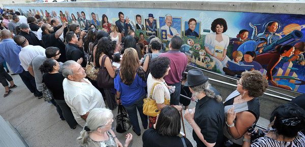 The newly constructed and opened Northeast Valley Neighborhood City Hall located at 13520 Van Nuys Blvd, celebrated the unveiling of a Mural commemorating the diversity of leaders who have emerged from the Northeast Valley community.  These include writers, sports figures, artists, musicians, community leaders and non-profit organizers. The specially commissioned mural was painted by Los Angeles artist Ignacio Gomez. Pacoima, Ca 7-26-2011. (John McCoy/Staff Photographer)