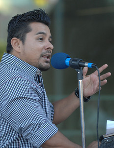 "Actor Jacob Vargas, who has starred in over 39 films including ""Jarhead, Traffic and Selena,''is one of the people whos portarit is painted into the mural. The newly constructed and opened Northeast Valley Neighborhood City Hall located at 13520 Van Nuys Blvd, celebrated the unveiling of a Mural commemorating the diversity of leaders who have emerged from the Northeast Valley community.  These include writers, sports figures, artists, musicians, community leaders and non-profit organizers. The specially commissioned mural was painted by Los Angeles artist Ignacio Gomez. Pacoima, Ca 7-26-2011. (John McCoy/Staff Photographer)"