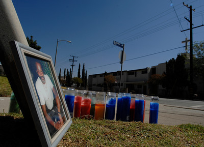 Albert Rushing,63, was gunned down in the pre-dawn hours of Sunday morning at the intersection of Dronfeild Ave. and Vaughn St. in Pacioma, California. Photos taken 9/24/07. photo by John McCoy/LA Daily News