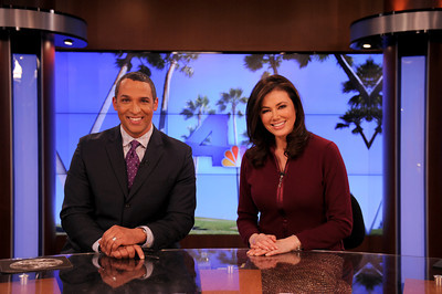 Michael Brownlee and Lucy Nolan will share anchor duties in the new studio. NBC4 Los Angeles is undergoing a multi million dollar makeover that includes a new set for the news, more employees, and new logo and upgraded equipment. Burbank, CA 1/20/2012(John McCoy/Staff Photographer)