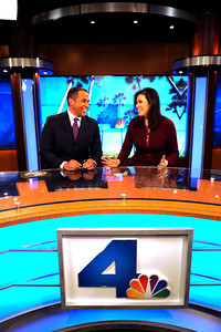 (l-r) Michael Brownlee and Lucy Nola will share Anchor duties on this new set. NBC4 Los Angeles is undergoing a multi million dollar makeover that includes a new set for the news, more employees, and new logo and upgraded equipment. Burbank, CA 1/20/2012(John McCoy/Staff Photographer)