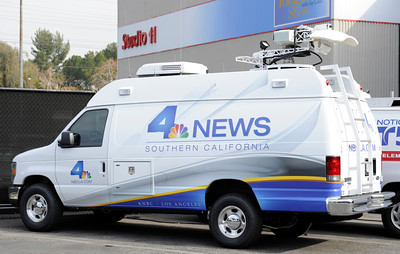 New live trucks have the new logo. NBC4 Los Angeles is undergoing a multi million dollar makeover that includes a new set for the news, more employees, and new logo and upgraded equipment. Burbank, CA 1/20/2012(John McCoy/Staff Photographer)