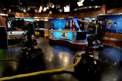 This studio shows the updated logo on the front of the anchor desk. NBC4 Los Angeles is undergoing a multi million dollar makeover that includes a new set for the news, more employees, and new logo and upgraded equipment. Burbank, CA 1/20/2012(John McCoy/Staff Photographer)