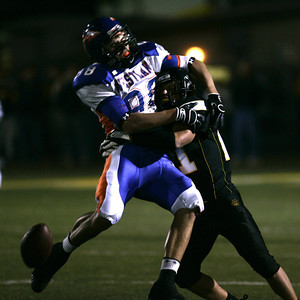Newbury Park's  Justin Edwards makes a hard tackle on Westlake's Chris  Biggs during the first half on Friday, Oct. 5, 2007. (Edna T. Simpson)