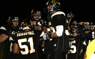 Newbury Park Football players celebrates after defeating  Westlake 27-13 on Friday, Oct. 5, 2007 at Newbury Park High School. (Edna T. Simpson)