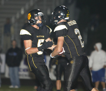 Newbury Park's Danny Diefenthaler celebrates with his teammate Phillip Muscarella after completing a touchdown during the game on Friday, Oct. 5, 2007. against Westlake. Newbury Park won 27-13 (Edna T. Simpson)