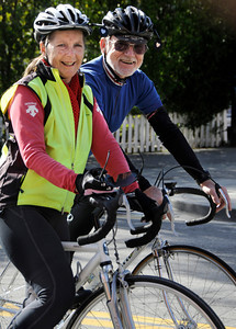 Nancy and Richard Weeden look forward to spending time in their bicycle saddles in the new year. Burbank, CA 12-31-2010. (John McCoy/staff photographer)