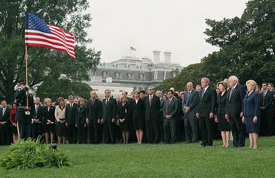 US President George W. Bush (4th-R) Firs