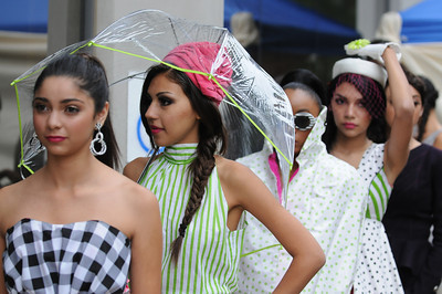 Models line up to walk the catwalk set up on the sidewalk outside the Art Institue-Hollywood Los Angeles. People went to a section of Lankershim Blvd. near Weddington St. to experience NoHo at the first-ever Arts Festival in the NoHo Arts District.  The free-event  showcased all that NoHo has to offer – art, music, theater, dance, food and fun. The event was part arts walk and part festival. North Hollywood, CA. 11/12/2011(John McCoy/Staff Photographer)