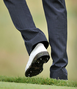 Aaron Baddeley wears metal spikes, as seen on the 13th green during the third round of the Northern Trust Open at Riviera Country Club in Pacific Palisades , CA. 2-19-2011. (John McCoy/staff photographer)
