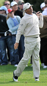 Fred Couples looks a little pained after his approach shot on #2. His ball landed a little short of the green, but he managed to make during the third round of the Northern Trust Open at Riviera Country Club in Pacific Palisades , CA. 2-19-2011. (John McCoy/staff photographer)