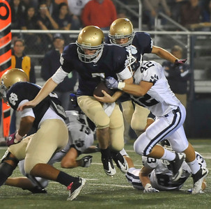 Game action as Norte Dame takes the 21-18 victory over visiting Loyola in the Serra League opener during Friday night football at Notre Dame high in Sherman Oaks CA. Oct 15,2010. Photo by Gene Blevins/LA Daily News