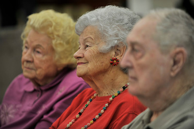 (l-r) Shirley Nathan,91, Anne Van Trigt,86,(cq) and Mickey Clark,92 listen at the press conference.Los Angeles County Mayor Michael Antonovich held a press conference at Windsor Manor in Glendale. Antonovich announced the Nursing Home Grading System he initiated that will go into effect on January 1, 2011. Windsor Manor is rated at the top of the new scale, receiving 5 stars.  Glendale, CA 12-23-2010. (John McCoy/staff photographer)