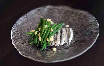 Ombra Ristorante's Amuse,  White Anchovies, French green beans, toasted almonds. (Hans Gutknecht/Staff Photographer)