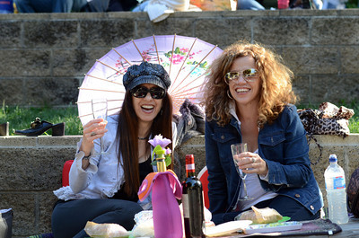 Donna Gale, Pasadena, and Debbie Orfino, South Pasadena, enjoy themselves during Opening Night at the Hollywood Bowl, Friday, June 17, 2011 in Hollywood, Ca. (Hans Gutknecht/Staff Photographer)
