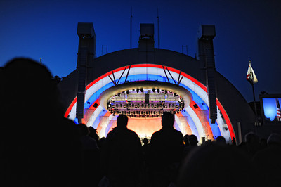 Thomas Wilkins and Hollywood Bowl Orchestra  perform the National Anthem during Opening Night at the Hollywood Bowl, Friday, June 17, 2011 in Hollywood, Ca. (Hans Gutknecht/Staff Photographer)