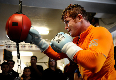 Mexico's boxer Canelo Alvarez does a media work out  today in Big Bear Lake for his upcoming fight with Gomez in  Los Angeles at the Staples Center September 17th. Big Bear Lake, CA. Aug 23, 2011.photo by Gene Blevins/LA DAILY NEWS