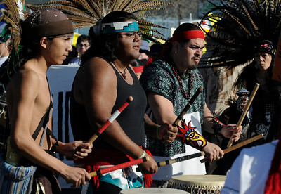 Aztec drummers set the tone as Our Struggle for Justice Continues March and Rally gathered at the intersection of Van Nuys Blvd. and Glendoaks. The march preceeded down Van Nuys Blvd for two miles until it reached Mary Immaculate Church where a rally was held. Pacoima, CA. 1-29-2011. (John McCoy/staff photographer)