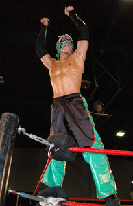 """Dragon Kid poses before his match at the second night of Pro Wrestling Guerrilla's """"Battle of Los Angeles"""" at the National Guard Armory in Burbank, California on Saturday Sept.  1, 2007. (Shane Michael Kidder / Staff)"""