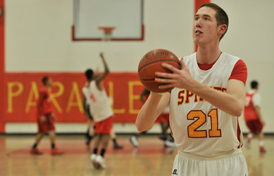Paraclete big man Mike VanKirk stands at 7 feet tall, and leads the team in blocked shots and rebounds. Lancaster, CA. 2-2-2011. (John McCoy/staff photographer)