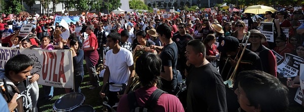 Thousands of local teachers, parents, students and community members protest state cuts to education at Pershing Square in Los Angeles Friday, May 13, 2011. (Hans Gutknecht/Staff Photographer)