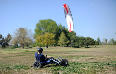 Pete Ryden, Agoura Hills, uses his kite buggy at the Balboa Sports Complex in Encino Thursday, March 14, 2012. (Hans Gutknecht/Staff Photographer)