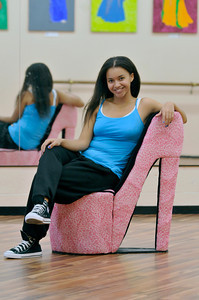 Christa Flores, a freshman at Pierce College, will be a contestant in the Miss San Fernando Valley Pagent. Flores has never competed in a beauty pagaent before, but has danced and sang most of her life and thought it would be a great experience.  She teaches a hip hop class at the Dance Fantasy Cultural Arts Center studio in North Hollywood, CA 9/02/2010 (John McCoy/staff photographer)