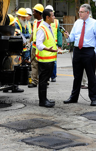 LA mayor Antonio Villaraigosa talks about the major pothole project on the way in the city and valley for repairs. Van Nuys CA.  June 6,2011. Photo by Gene Blevins/LA DailyNews