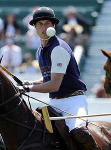 Prince William keeps his eye on the ball as he plays polo for the Royal Salute Foundation Team during a round robin tournament at the Santa Barbara Polo & Racquet Club in Carpinteria, CA to raise funds for The American Friends of the Foundation of Prince William and Prince Harry and Polo Training Center Santa Barbara.  (Hans Gutknecht/LA Daily News)