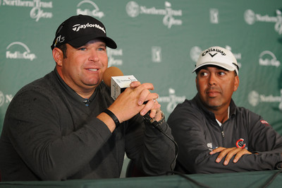 Jason Gore and Andy Walker talk about their college playing days. Wednesday was reserved for the Pro Am at Riviera Country Club, one day before the start of the Northern Trust Open. Pacific Palisades, CA 2/15/2012(John McCoy/Staff Photographer)